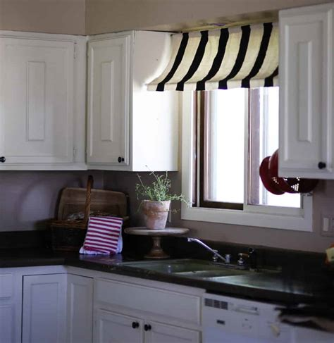 diy black  white striped kitchen window awning  drop cloth french style  chic obsession