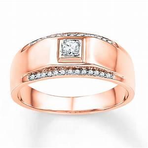 Men39s Wedding Band 16 Ct Tw Diamonds 10K Rose Gold