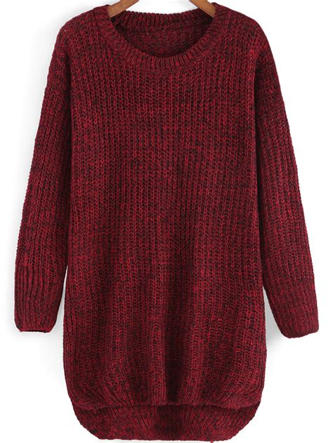 knit sweaters neck dip hem knit sweaterfor romwe