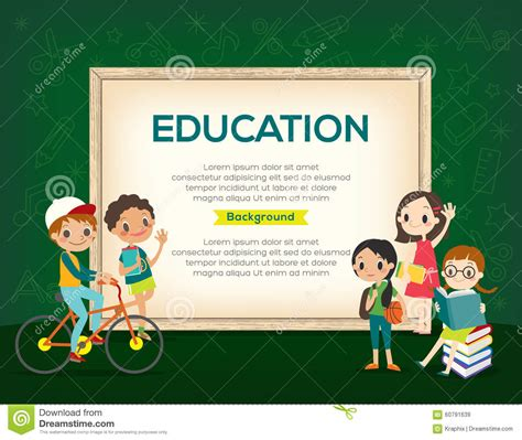 happy group  kids education background template stock