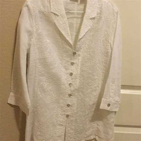 chicos blouses 69 chico 39 s tops embroidered white 100 linen blouse