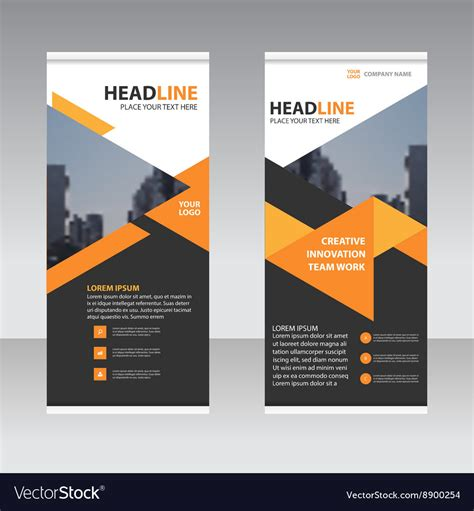 trifold template school empty black orange business trifold leaflet template vector image