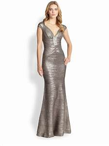 herve leger metallic flared bandage gown in metallic lyst With herve leger robe bandage