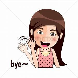 Cartoon girl waving bye Vector Image - 1957237 ...