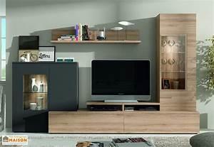 Meuble Tv Complet : ensemble meuble tv mural dublin 2 coloris ramis ~ Teatrodelosmanantiales.com Idées de Décoration