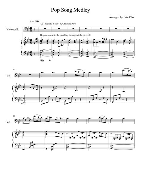 Without exception, every song from our vast collection has, aside from the piano notes, a video tutorial for you to watch and help you practice. Pop Song Medley Piano Part sheet music for Piano, Cello, Voice download free in PDF or MIDI
