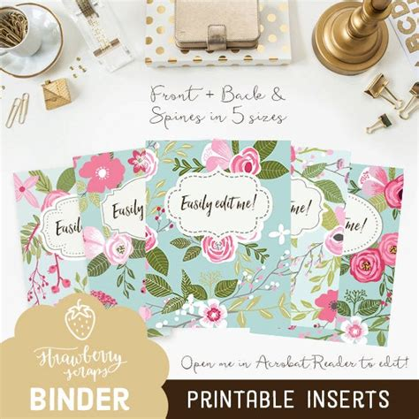 floral binder cover printable pink blue flowers
