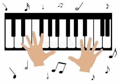 Piano Hands Notes Illustration Cartoon Play Clip