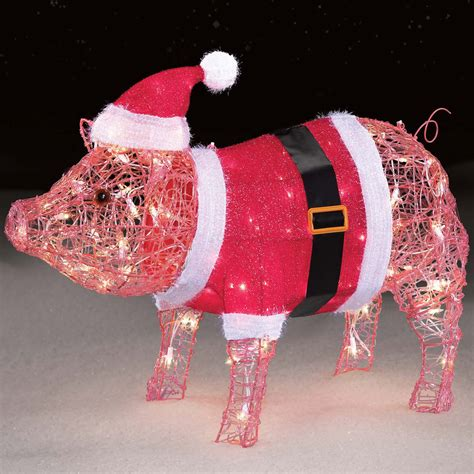 lighted pig lawn ornament christmas trimming traditions 27 quot 100l acrylic pig