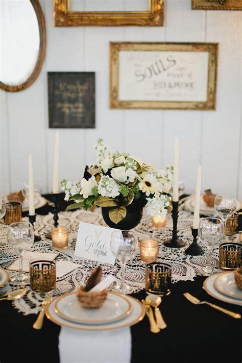 vintage gold black  lace tablescape elizabeth anne