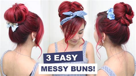 3 Easy Messy Buns L Cute Hair Buns L Summer Hairstyles For