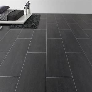 sol pvc noir black melbourne aerotex l4 m leroy merlin With carrelage adhesif salle de bain avec dalle led 60 x 30