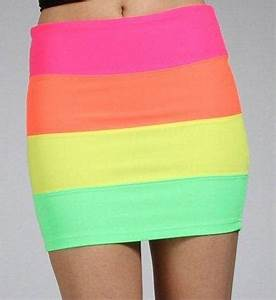 Neon Rainbow Colorblock Banded Mini Skirt from Windsor