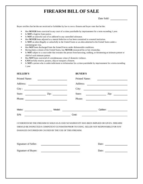 firearm forms canada 2018 firearm bill of sale form fillable printable pdf