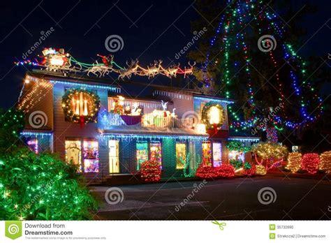 christmas village lights stock photo image 35732890