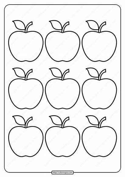 Apple Coloring Outline Printable Simple Email Whatsapp