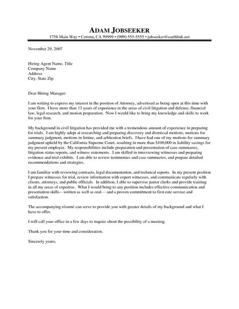 attorney cover letter project scope template