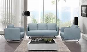 Fauteuil 3 Places : ensemble design canap 3 places 2 fauteuils en tissu bleu ~ Teatrodelosmanantiales.com Idées de Décoration