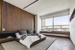 Contemporist, An, Accent, Wall, Of, Vertical, Wood, Helps, To, Accentuate, The, Feeling, Of, Height, In, This