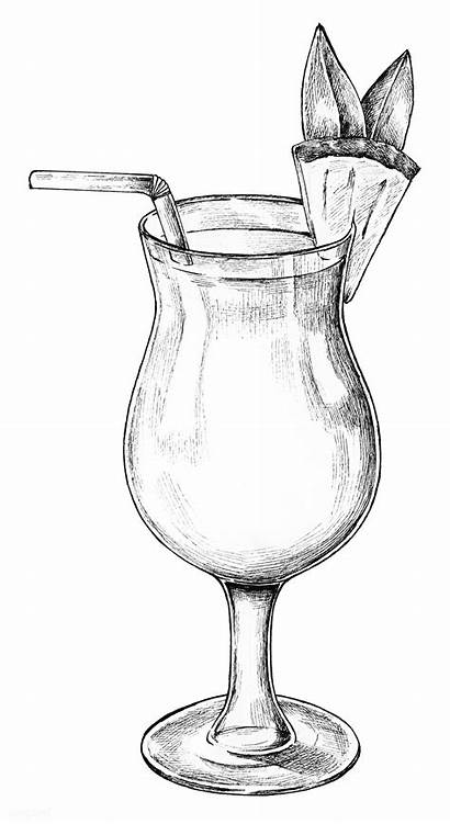 Transparent Cocktail Drawing Glass Drawn Pineapple Tree
