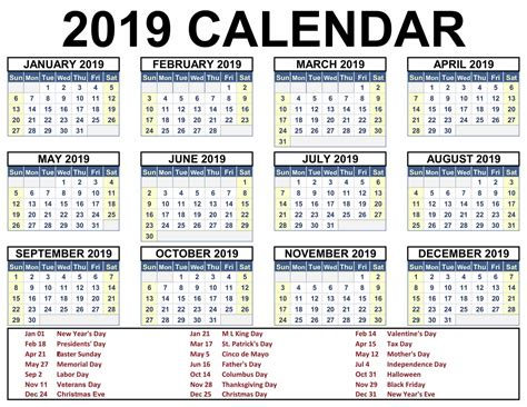Printable Calendar 2019 Templates Free {download}