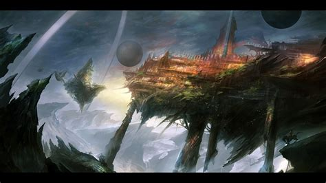 cities fantasy art floating islands horses landscapes
