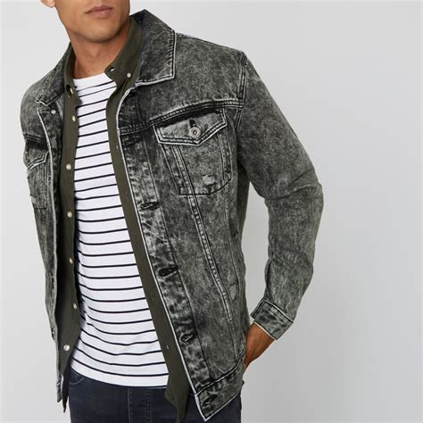 Grey acid wash oversized denim jacket - Coats u0026 Jackets - Sale - men