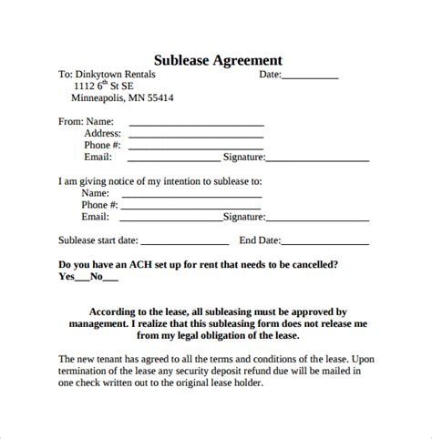 Sublease Agreement Template 23 Sle Free Sublease Agreement Templates To