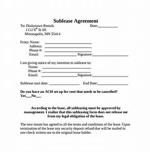sublease agreement 22 download free documents in pdf word With subletting lease agreement template