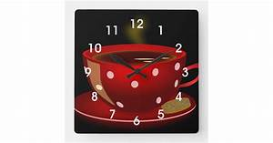Business Shipping Labels Red Tea Or Coffee Cup Kitchen Wall Clock Zazzle Com