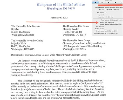 addressing a letter to two tea party lawmaker letter on med device tax repeal