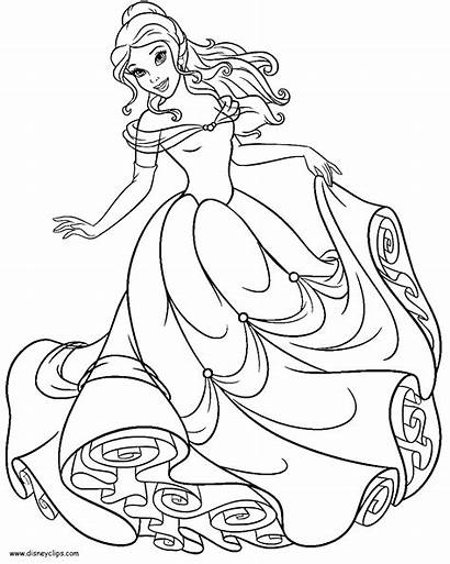 Belle Coloring Princess Pages Disney Beast Beauty