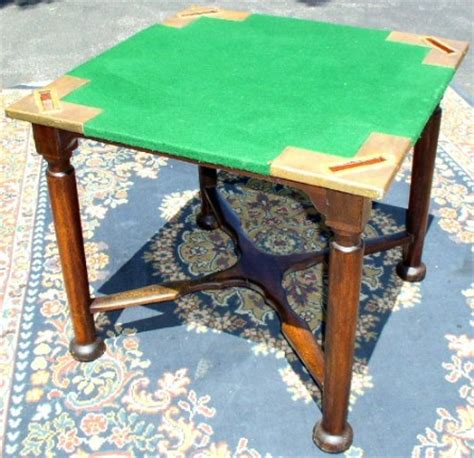 felt top card table unusual card table with copper leather card holders