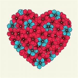 Blumen Bilder Gemalt : herz mit blumen in grafikstil retro rosa und blaue farben gemalt vektorgrafik colourbox ~ Orissabook.com Haus und Dekorationen