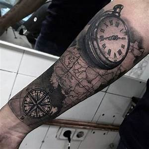 100 Pocket Watch Tattoo Designs For Men - Cool Timepieces