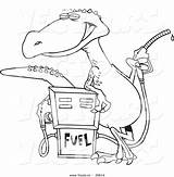 Cartoon Dinosaur Coloring Gas Station Pump Vector Outline Standing Printable Getcolorings Getdrawings Leishman Ron sketch template