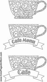 Coloring Coffee Pages Tea Adult Cafe Adults Wine Colorpagesformom Books Printable Colouring Sheets Cup Cups Menu Doodles Kawaii Colour Print sketch template