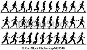 Illustration de marcheurs - silhouette, séquences, de ...