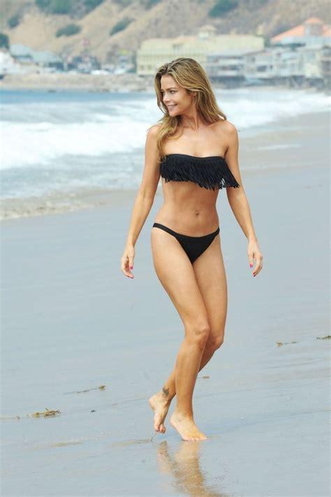 denise richards bikini  beach  malibu frilled