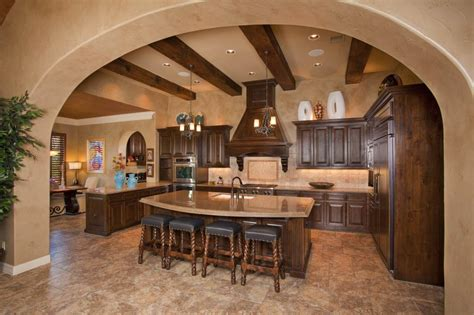 charming tuscan kitchen interior design with a marble