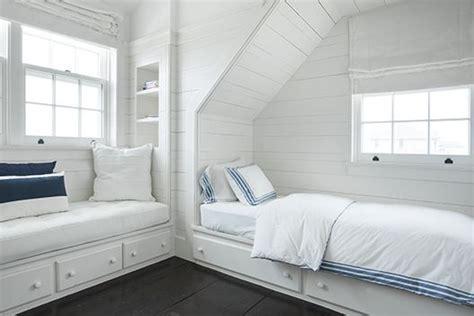 Kids Bedroom, White Decor, Nautical Marine Aesthetic, White Horizontal Wood Paneling, Built In