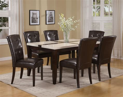 acme justin white faux marble top dining table set