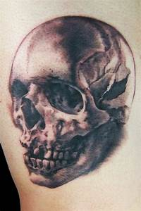 Realistic broken skull tattoo - Tattooimages.biz