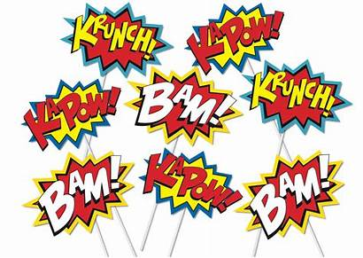 Superhero Props Booth Printable Action Clipart Words