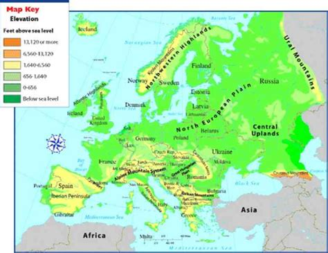 map of mountains of europe map travel