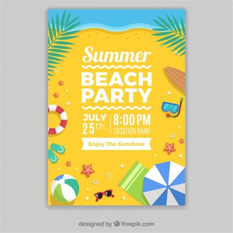 template  party poster   beach vector