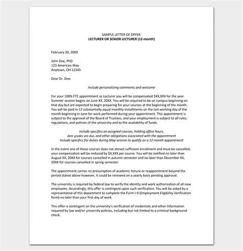teacher appointment letter  sample  word