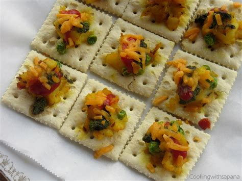 canape toppings saltine crackers canapes with potato peas topping
