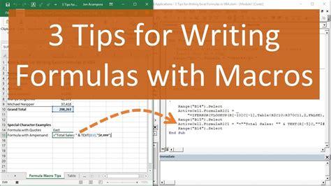 tips  writing formulas  vba macros  excel youtube