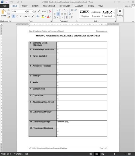 advertising objectives strategies worksheet template